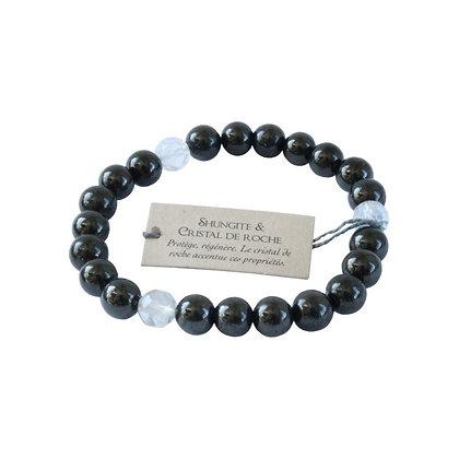 Bracelet perles rondes shungite / cristal de roche