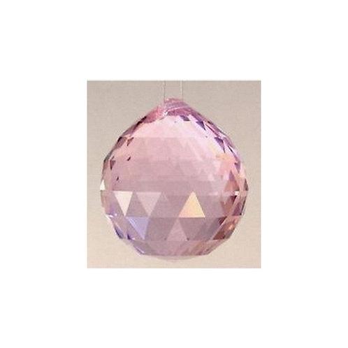 Boule de cristal à facettes - rose - 40mm