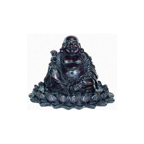 Bouddha assis sur Lotus - Résine brune     Sagesse