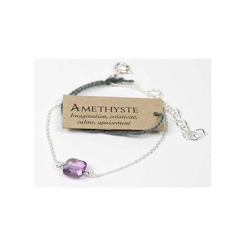 Bracelet en argent, coussin d'Améthyste du Brésil