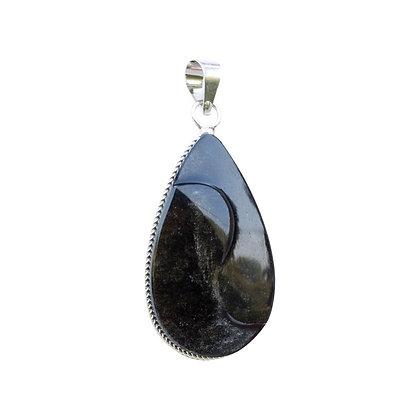 Pendentif yin yang obsidienne argentée