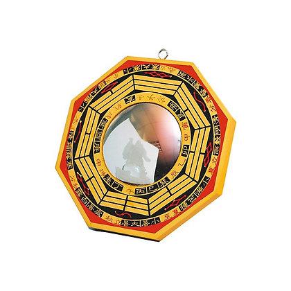 Miroir Pa Kua bois peint convexe  -   grand modèle