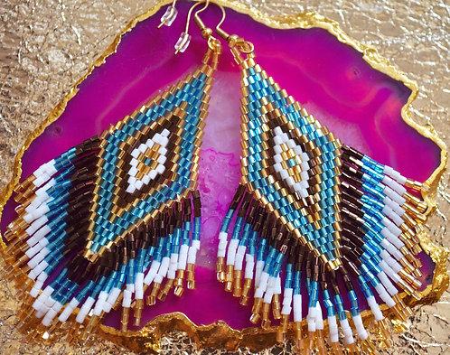 Rainbow Beaded Earrings - White and Blue