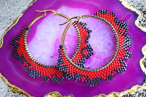 Miyuki Beaded Hoop Earrings