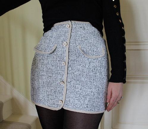Modern Tweed Femme Skirt - Light Grey
