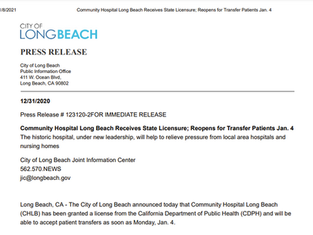 CHLB is now relicensed, open and serving patients!