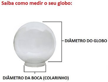 Globo de Vidro Transparente com Colarinho - Medidas, saiba como medir seu globo.