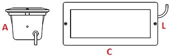 Balizador retangular de parede sem grade - Ames Iluminação. - Desenho Técnico do balizador para embutir.