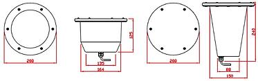 Embutido de Solo HQI 70w ou 150w com Alojamento- Desenho técnico, clique para ampliar.