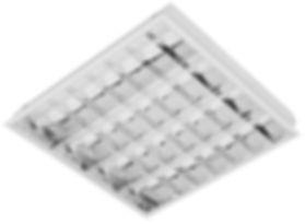 Luminária de embutir em forro de gesso ou modulado. Corpo em chapa de aço tratado com acabamento em pintura eletrostática na cor branca. Refletor e aletas parabólicas em alumínio anodizado de alto brilho. Modelo: 4x16W / 4x32W ou Tubular LED