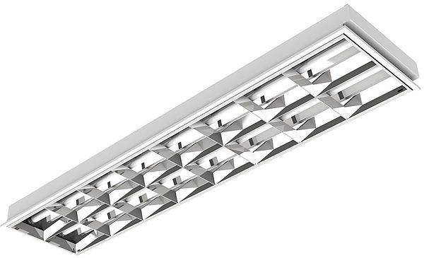 Luminária Retangular de Embutir com Aleta de Alumínio 2x T8