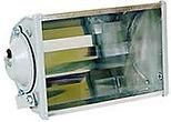 Projetor fechado longo alcance com refletor alto brilho e laterais em chapa de aço. Lente em vidro plano temperado, soquete E27.