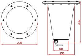 Embutido de Solo com grade para Lâmpada PAR30 PAR38 e AR111 - Desenho com Medidas