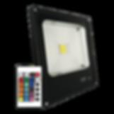 Refletor Led RGB IP65 com controle remoto. Alumínio injetado, controle com 16 cores.