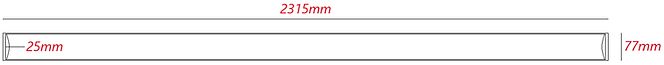 Luminária Led Linear Sobrepor com 2400mm HO. Medidas