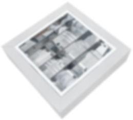 Luminária plafon de sobrepor corpo e chapa de aço e refletor e aleta parabólica em alumínio alto brilho, para lâmpadas até 20W com base E-27