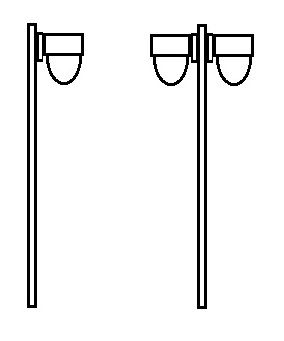 Poste Decorativo com Vidro Dalila Pequeno, desenho poste simples e duplo.
