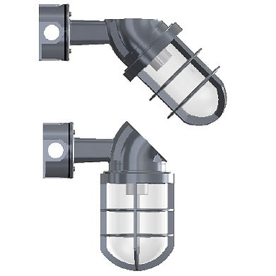 Arandela 45° ou 90° industrial blindado fabricado em liga de alumínio fundido com proteção IP65