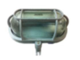 Arandela específica fabricada em alumínio injetado na cor cinza martelada com entrada rosca 3/4 para áreas específicas. Arandela anti-explosão.