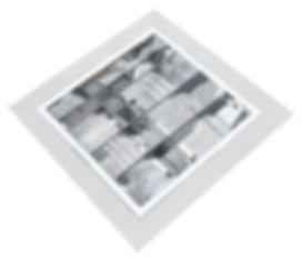 Luminária quadrada de embutir com refletor em alumínio anodizado e aletas parabólicas alto brilho, para lâmpadas E-27.