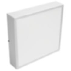 Plafon quadrado de sobrepor fabricado em chapa de aço e pintura epóxi na cor branca, difusor em acrílico PS translúcido para lâmpadas fluorescentes com base E-27
