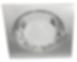 Plafon máscara quadrada, modelo funil ou panela, para uma ou duas lâmpadas fluorescentes, soquete E-27, vidro jateado central, refletor anonizado.