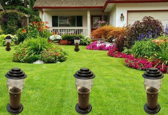 Balizador Timoneiro Poste para Jardim, instalação em jardim, praças e condomínios.