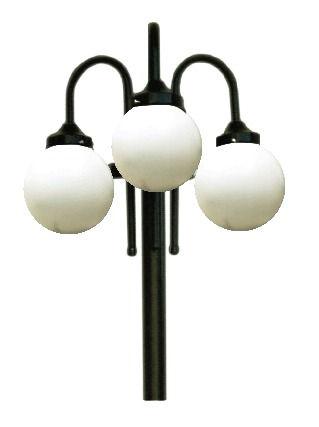 Poste de Jardim com Globo Modelo Bengala - Modelo com 3 globos boca 15, para globo em plástico ou globo em vidro que possuem boca 15 com diâmetros de 15x28, 15x30 ou 15x42.