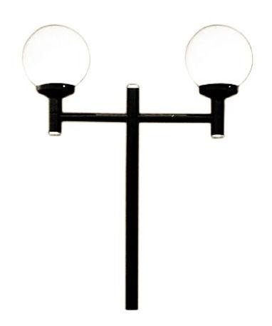 Poste Decorativo Reto com 2 Globos, 1,80 metros, globo de plástico ou globo de vidro boca 15. Pintura eletrostática na cor preta ou opcional branca. Possui flange para fixação em sapata. Para lâmpadas com soquete base E-27