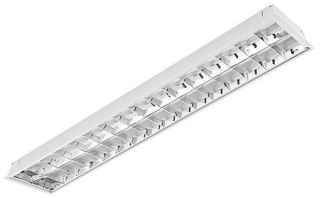 Luminária de embutir em forro de gesso ou modulado. Corpo em chapa de aço tratado com acabamento em pintura eletrostática na cor branca. Refletor e aletas parabólicas em alumínio anodizado de alto brilho. Modelo: 2x16W / 2x32W ou Tubular LED