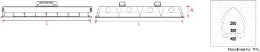 luminária 4x16, 4x32, aleta alumínio, aleta parabólica, 60x60, embutir no gesso, forro modular, tuboled, led T8