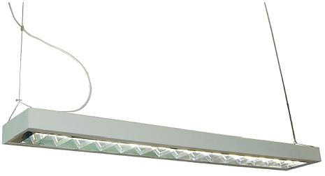 Pendente decorativo com aletas e refletor parabólico para lâmpadas T5.