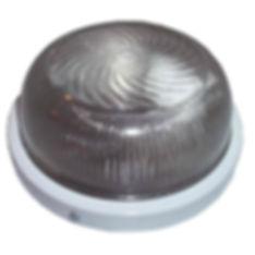 Plafon tartaruga sem grade de sobrepor em teto ou parede, fabricado em alumínio injetado com difusor em vidro prismático, para 1 lâmpadas E27 até 15W espiral.