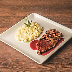 NY strip in Red Wine Sauce