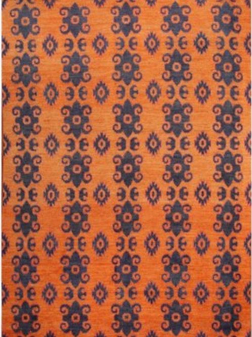 100% Wool Pile Handmade Afghan Rug   9.3 x 12.2