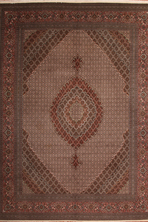 Silk & Wool Persian Rug Tabriz   8.3 X 11.1