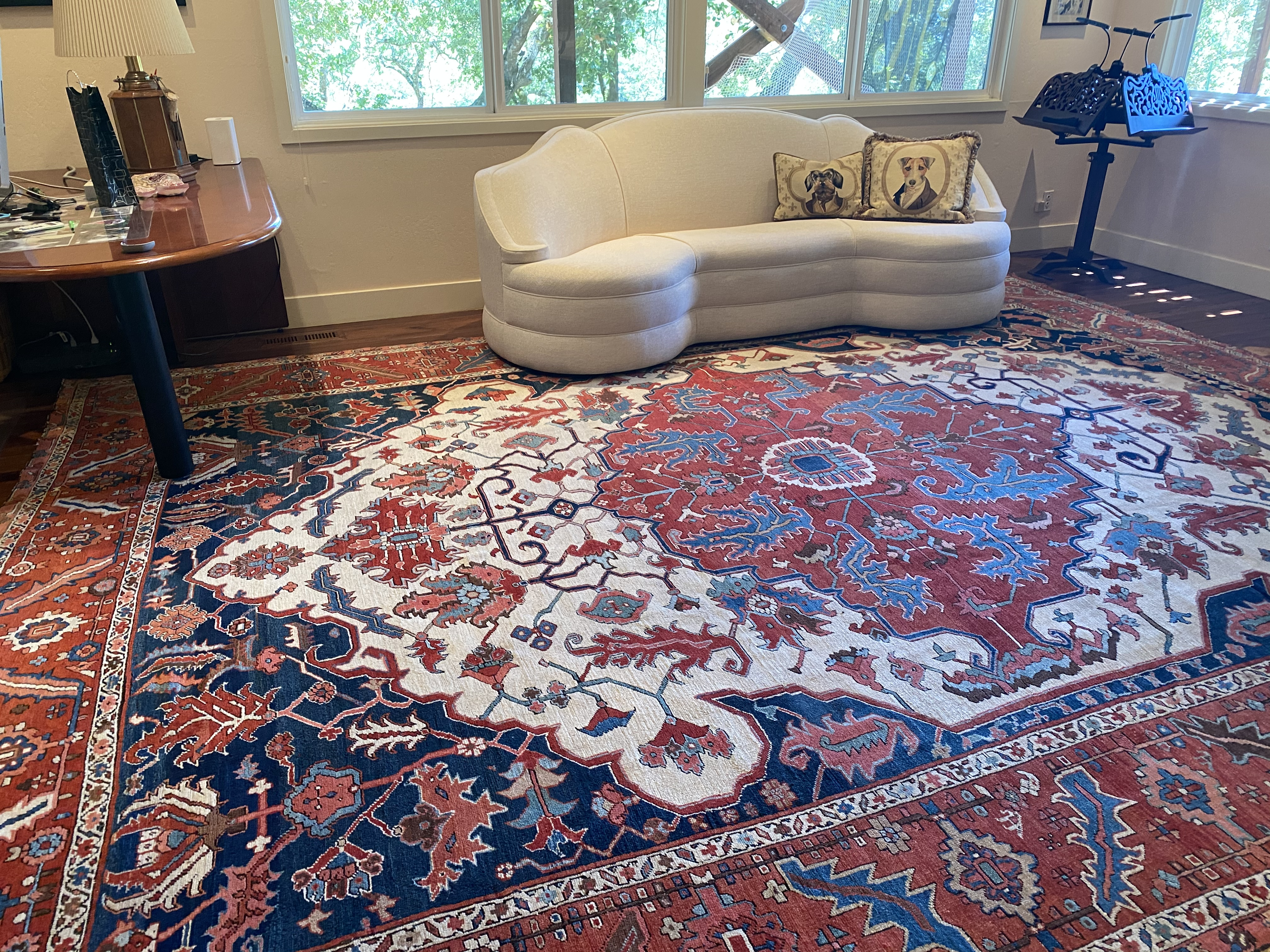 Beautiful Antique Serapi & Antique Tapestry in Pam & Elmo's residence