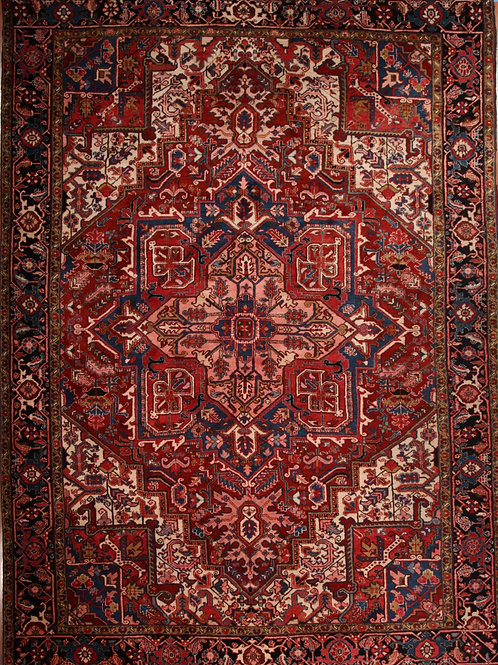 Wool Persian Rug Heriz | 9.1 X 12.5
