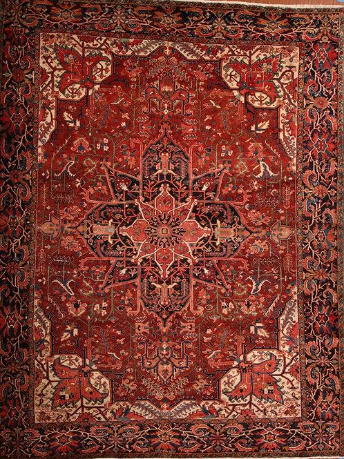 Wool Old Persian Rug Heriz | 9.4 X 12.0
