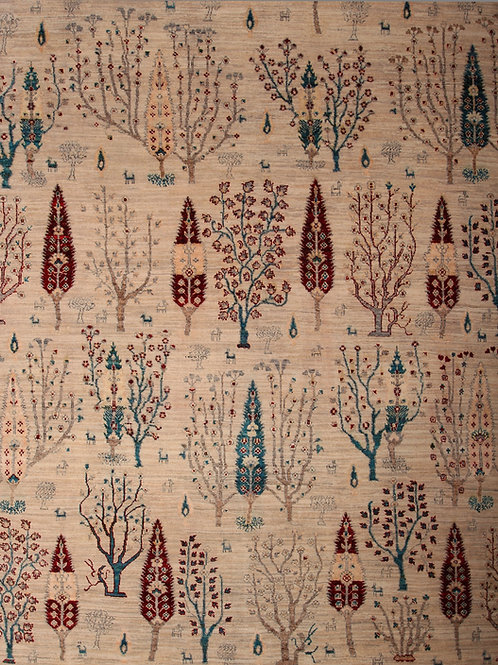 Handmade Silk and Wool Indian Rug | 7.10 X 10.2