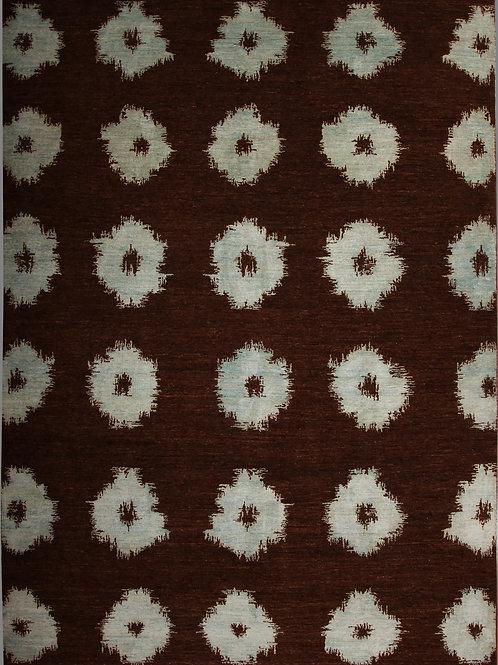 Handmade Silk and Wool Indian Rug | 9 X 12.7