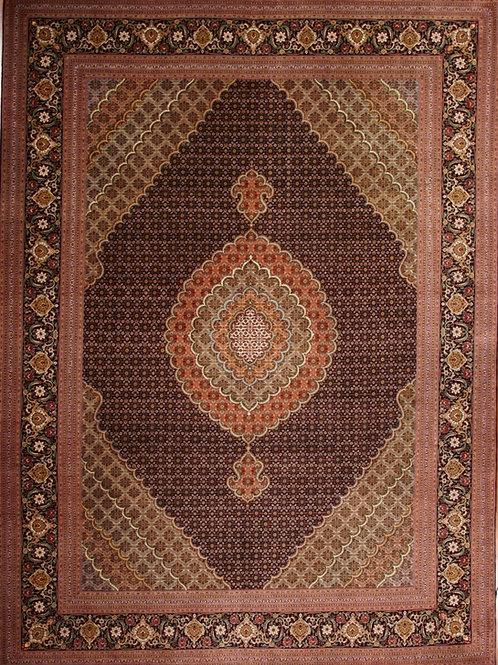 Handmade silk & wool Persian Rug Tabriz | 8.3 X 11.2