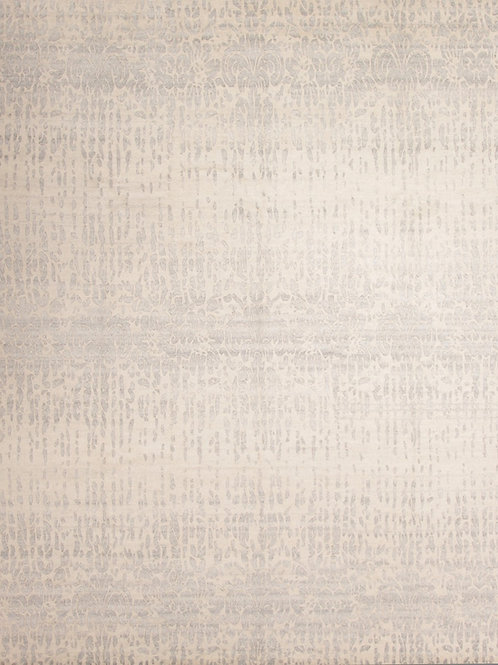 Handmade Silk and Wool Tibetan-Style Rug | 8 X 9.11