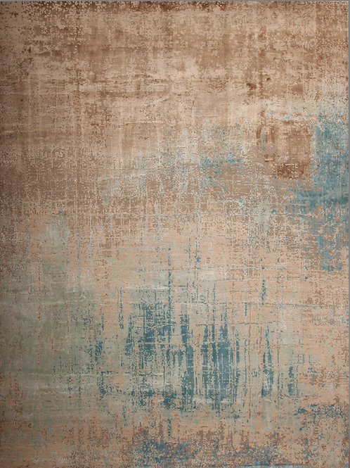 Handmade Bamboo Silk and Wool Indian Rug | 9 X 12
