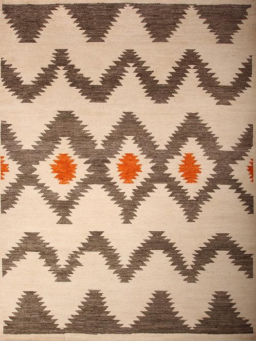 Handmade 100% Wool Pile Pak Moroccan | 9.4 X 12.8