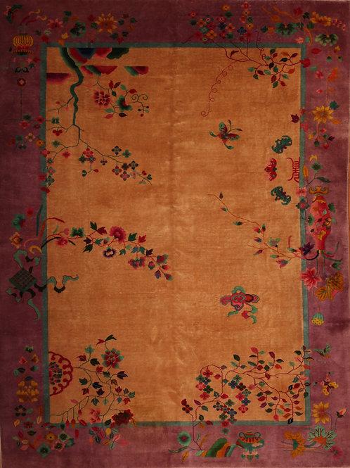 Wool Chinese Art Deco | 8.8 X 11.8