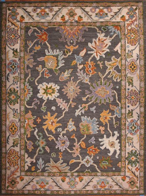 Wool & Viscose Indian Rug | 9.4 X 12.2