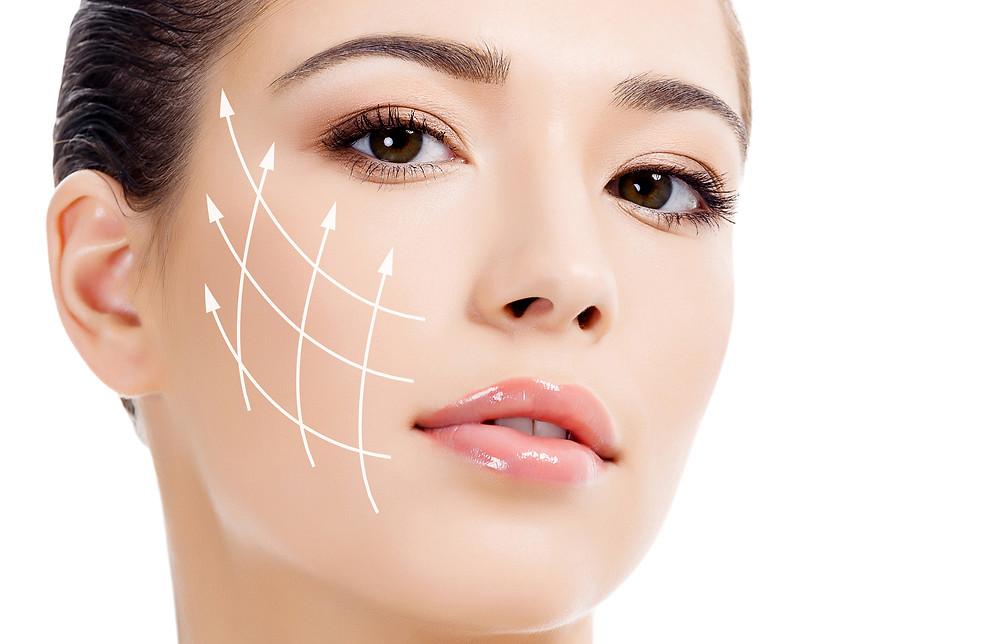 Representação de flacidez na face de uma mulher