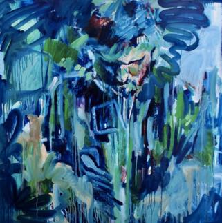 (2019) Blue Joe. [Oil on MDF, 120cm x 120cm].  Degree Show Exhibition. Loughborough University, UK