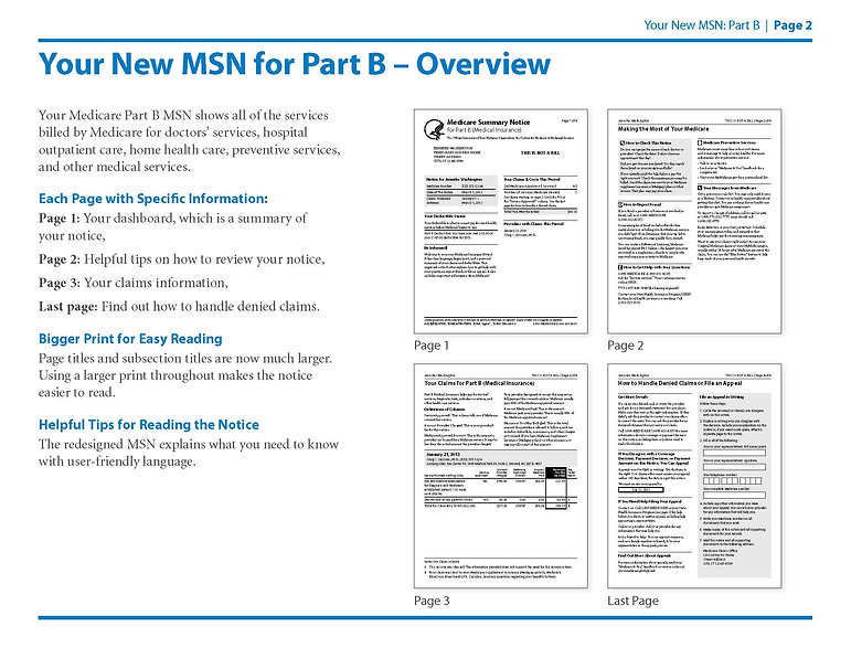 Medicare Summary Notice Part B Page 1